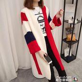 秋季新款女裝韓版中長款針織衫女開衫上衣寬鬆長袖原宿毛衣外套厚 魔方數碼館