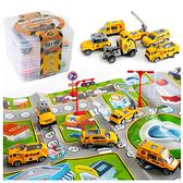 收納盒合金工程車地圖玩具組 小汽車 玩具收納盒 汽車地圖 交通玩具 玩具車