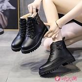 馬丁靴 馬丁靴女2021年秋冬季新款百搭棉鞋保暖加絨加厚雪地增高厚底短靴 小天使