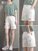 高腰白色五分短褲女夏季薄款寬鬆大碼胖mm直筒港味5分牛仔中褲潮