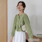 短袖襯衫 襯衫女士設計感小眾上衣短袖夏季方領法式短款新款早春半袖 2021新款