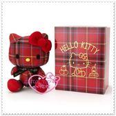 小花花日本精品♥Hello Kitty 娃娃 造型 凱蒂貓 玩偶 坐姿 紅色蘇格蘭紋 生日慶 收藏12331703