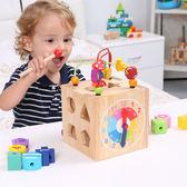 兒童木質多功能串珠繞珠早教益智形狀積木配對玩具1-2-3歲男女孩全館免運