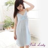 PinkLady花樣年華~絲質 連身 睡裙 睡衣 居家服 性感睡衣 8663(水藍)
