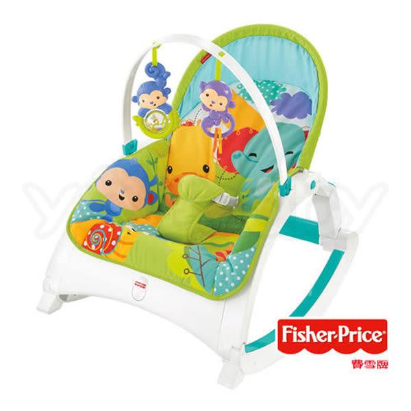 費雪 Fisher-Price 熱帶雨林可攜式兩用震動安撫躺椅/彈跳躺椅