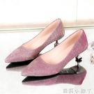 低跟鞋春夏新款高跟女鞋小跟瓢鞋百搭女細跟單鞋淺口時尚3cm低跟金 蘿莉小腳丫