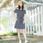 單一優惠價[H2O]兩穿收腰綁帶洋裝 - 藍底白條/白底黑條/淺藍底白條蕾絲色 #8694003