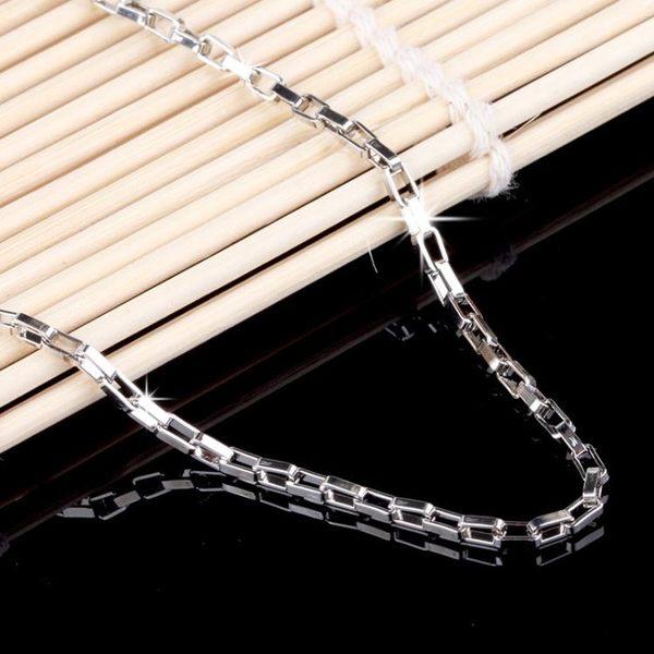 鍍銀盒子長方鏈 情侶項鏈配鏈飾品s144