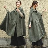 外套-寬鬆羊毛呢斗篷大衣/設計家 F81005