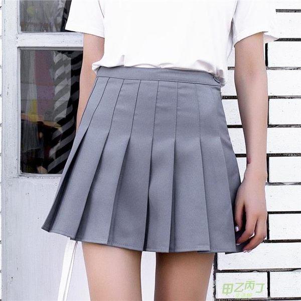 (交換禮物)學院風短裙a字裙百褶裙半身裙夏大尺碼女夏季新品高腰裙子半裙