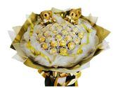 娃娃屋樂園~33顆33朵金莎(網紗)花束+2隻小熊 每束1200元/情人節花束/婚禮小物/巧克力/教師節花束