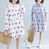 大碼女裝秋裝顯瘦遮肉連衣裙寬鬆減齡洋氣微胖妹妹印花中長款襯衫