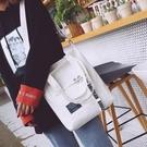 帆布包女側背文藝小清新新款韓版休閒學生簡約百搭手提斜背包聖誕交換禮物