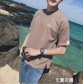 2019夏季新款男士短袖t恤韓版潮流學生衣服寬鬆港風日系亞麻體恤『艾麗花園』