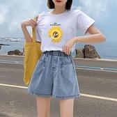 高腰牛仔短褲女夏季2021新款薄款顯瘦寬松闊腿褲春秋百搭黑色熱褲