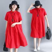 女裙 文藝寬鬆中長款休閒翻領純色短袖洋裝連衣裙