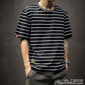 條紋T恤夏季男士超火短袖T恤圓領海魂寬鬆大碼日繫條紋 曼莎時尚
