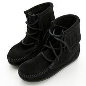 美國正品【MINNETONKA 】 牛仔風麂皮黑色流蘇短靴童鞋 在台24H 寄出