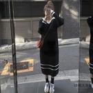 孕婦連身裙韓版寬松顯瘦連帽冬季長款過膝【時尚大衣櫥】