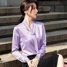 氣質領結珠光不皺免燙上班長袖襯衫[21S025-PF]美之札