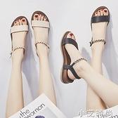 涼鞋女仙女風坡跟ins潮2021年夏季新款百搭時尚平底鞋一字帶時裝 小艾新品