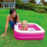 家庭游泳雙層方形嬰兒戲水池充氣底