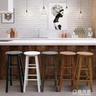 實木凳子 高腳凳簡約吧台椅家用吧台凳復古...
