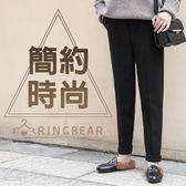 休閒褲--保暖時尚寬版鬆緊帶身側雙口袋素面毛呢哈倫褲(黑XL-5L)-P138眼圈熊中大尺碼