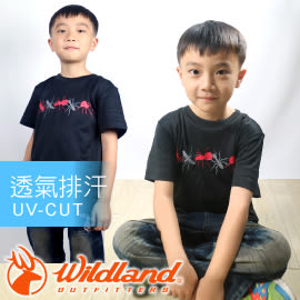 【Wildland 荒野 中童椰碳 印花排汗衣 黑】 71670-54/兒童短袖/排汗衣★滿額送