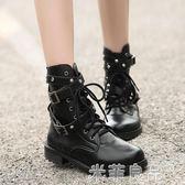ins機車馬丁靴女短靴粗跟靴子短筒英倫風皮帶扣騎士靴 『米菲良品』
