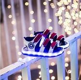 男童涼鞋軟底女童發光鞋兒童帶燈沙灘鞋充電防水亮燈鞋中小童男孩 滿天星