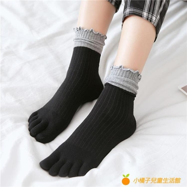 5雙裝 五指襪女純棉秋冬高腰拼色中筒堆堆襪【小橘子】