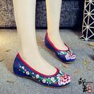 中式復古相思梅刺繡繡花布鞋女鞋漢服鞋牛筋軟底舞蹈女單鞋 限時降價