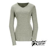 PolarStar 女 遠紅外線V領長袖排汗衣 (吸濕快乾│膠原蛋白│台灣素材│抗靜電)『綠米』P17228