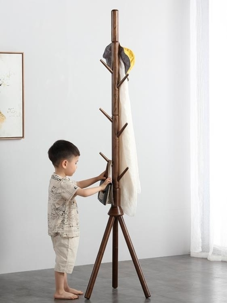 衣帽架 實木衣帽架落地北歐風格原木掛衣架簡約現代臥室樹形兒童掛書包架  LX 曼慕