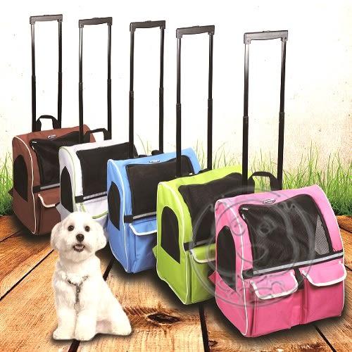 【zoo寵物商城】外銷歐美【dyy】美式拉桿雙袋寵物旅行箱車大號44*34*46