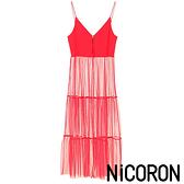 「Hot item」網紗吊帶連身層次蛋糕裙 - NiCORON