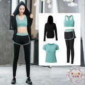 夏季瑜伽服運動套裝女健身服健身房速幹衣跑步服三件套大呎碼全館免運