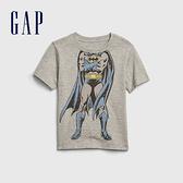 Gap男幼童Gap x DC正義聯盟系列蝙蝠俠創意舒適印花短袖T恤577608-亮麻灰色