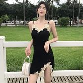 夏季港味女復古刺繡蕾絲花邊開叉吊帶修身洋裝性感細肩帶打底裙 中秋特惠