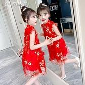 女童洋裝女童漢服連身裙夏季21新款旗袍小女孩公主裙中大童唐裝裙子童裝 快速出貨