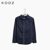 東京著衣【KODZ】撞色滾邊長袖襯衫-XS.S.M(6011929)