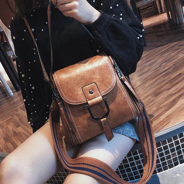 韓版時尚復古水桶包手提包百搭側背包學生休閒女包