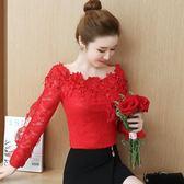 中大尺碼 秋季新款韓版長袖蕾絲衫一字領鏤空性感打底超仙洋氣小衫 DN17021【棉花糖伊人】