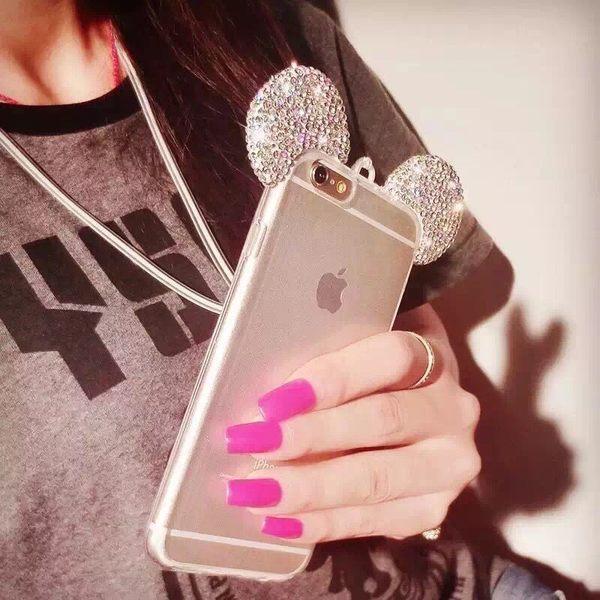 【SZ13】 iPhone 7/8 鑲鉆石膏水晶鉆兔耳朵閃粉殼 蘋果7 帶掛繩米奇手機殼 iPhone 5 se iPhone 6S