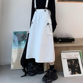 裙子女夏季韓版ins復古白色工裝半身裙中長款高腰氣質背帶A字裙潮 伊蘿