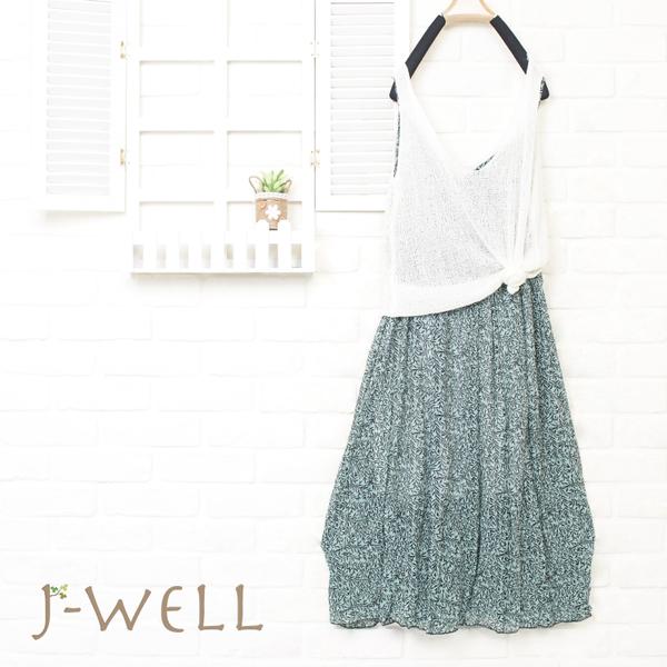 J-WELL 涼感線衫背心佯裝二件組 (組合A80 8J1479白+8J1498綠)