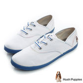Hush Puppies 三原色系咖啡紗帆布鞋-白/藍