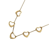 Tiffany & Co 蒂芬妮 Open Heart系列18K金5顆小愛心項鍊 K18YG 【二手名牌BRAND OFF】