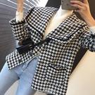 小香風外套 韓國chic秋冬復古海軍領單排扣寬鬆百搭口袋設計千鳥格毛呢短外套 - 古梵希
